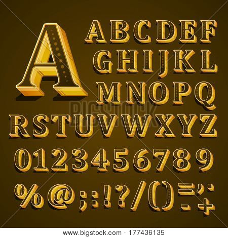 Golden English alphabet on khaki background. Vector illustration of letters, numbers and punctuation marks. The font contains question exclamation marks, period, comma, hyphen, parenthesis.