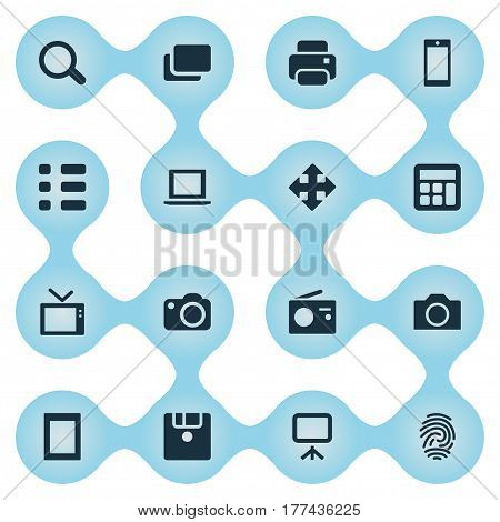 Vector Illustration Set Of Simple Hardware Icons. Elements Fingerprint, Touch Computer, Smartphone And Other Synonyms Television, Schedule And Notebook.