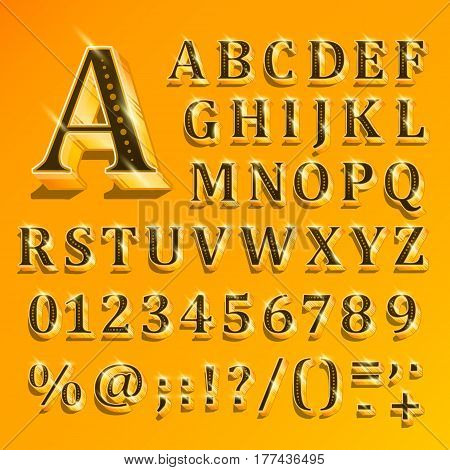 Golden English alphabet on yellow background. Vector illustration of letters, numbers and punctuation marks. The font contains question exclamation marks, period, comma, hyphen, parenthesis.