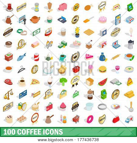 100 coffee icons set in isometric 3d style for any design vector illustration