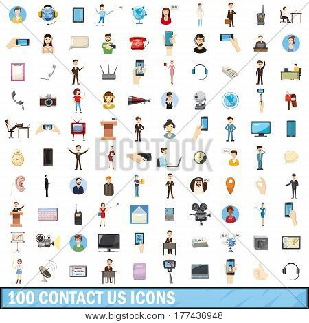 100 contact us icons set in cartoon style for any design vector illustration