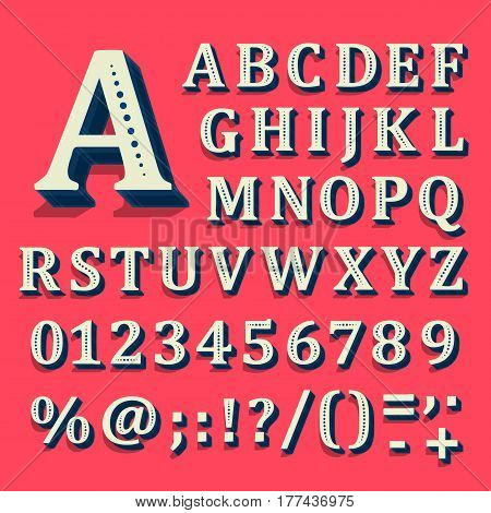 Red and white font on black background. The alphabet contains letters. Vector