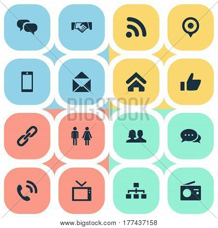 Vector Illustration Set Of Simple Social Icons. Elements Handshake, Letter, Pin Synonyms Contact, Link And Pin.