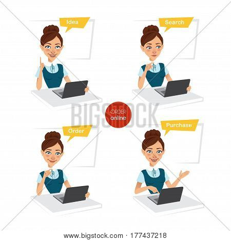 Woman is making order online. Four stages of process. Four business characters. Idea, search, ordering, buying. Vector illustration