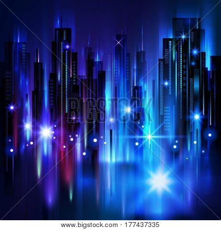 Illuminated Night City Skyline , Vector Illustration