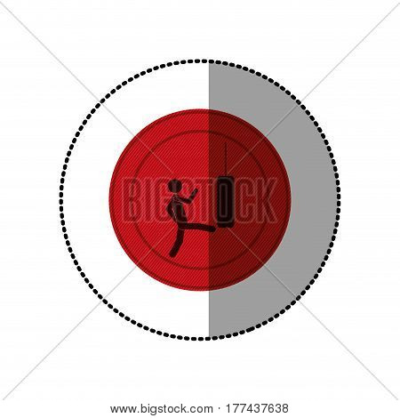 red symbol person kicking a punching bag, vector illustration design