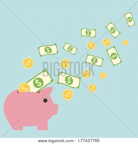 Saving money concept, bank and coins flying to piggy bank