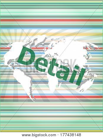 The Word Detail On Digital Screen, Business Concept Of Citation, Info, Testimonials, Notice, Textbox