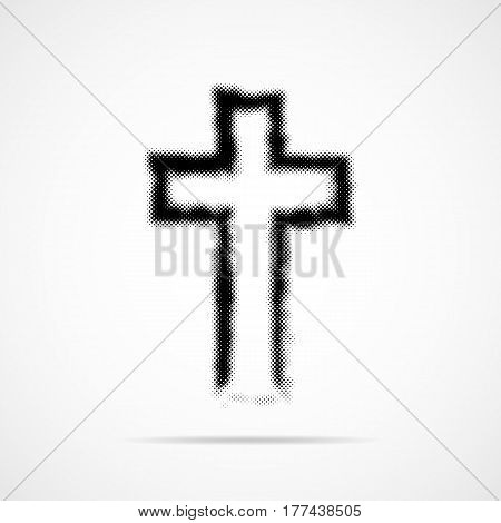 Black Christian cross in halftone design. Vector illustration. Abstract cross as a symbol of the Christian faith.