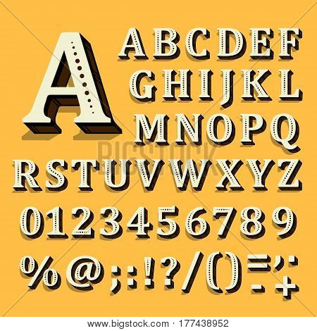 Yellow and white font on black background. The alphabet contains letters. Vector illustration