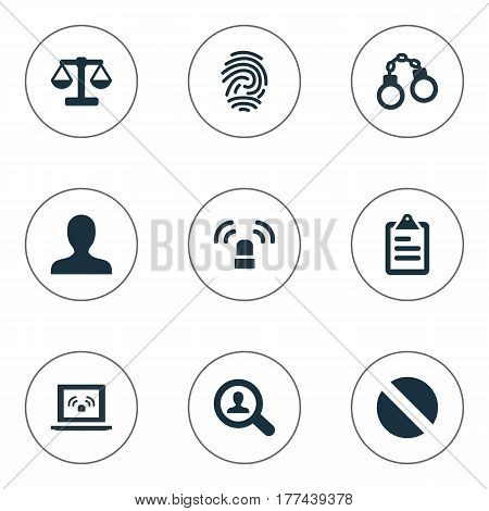 Vector Illustration Set Of Simple Fault Icons. Elements Investigation, Checklist, Identification And Other Synonyms Connection, Net And Scales.