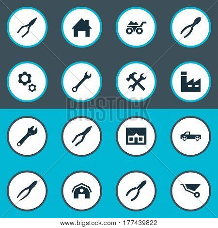 Vector Illustration Set Of Simple Axe Icons. Elements Spanner, Nippers, Cart And Other Synonyms Empty, Factory And Property.