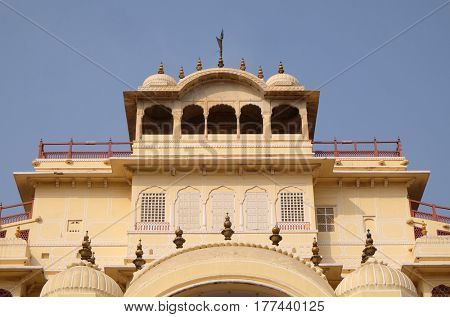 JAIPUR, INDIA - FEBRUARY 16: Chandra Mahal in Jaipur City Palace, Rajasthan, India. Palace was the seat of the Maharaja of Jaipur, the head of the Kachwaha Rajput clan, on February 16, 2016.