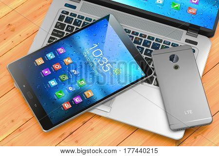 Laptop, Smartphone, Pad On Wooden Table. Mobile Devices. 3D Render