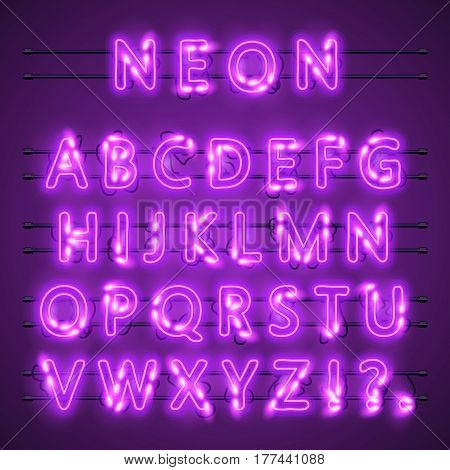 Neon banner text. Neon font city color purple, Alphabet font. Vector