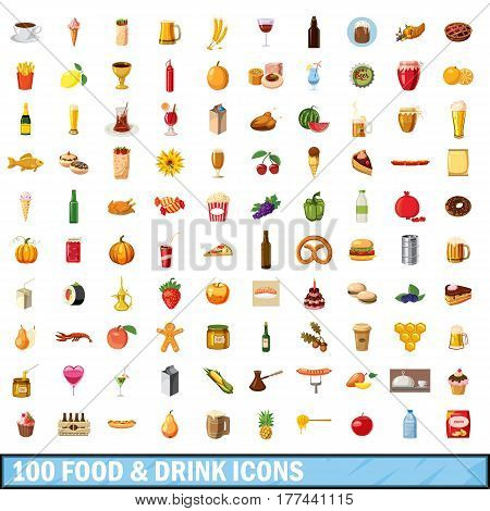 100 food and drink icons set in cartoon style for any design vector illustration