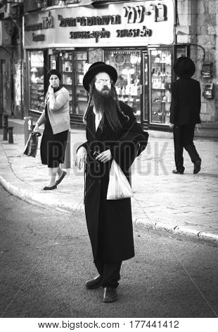 JERUSALEM, ISRAEL - MARCH 06, 2017: Hasid (Orthodox Jews) on the streets of the city