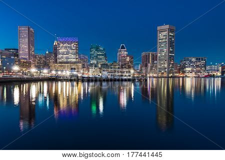 Baltimore night skyline reflection from Inner Harbor