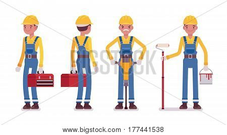 Set of male professional worker in yellow protective hardhat, blue overall, holding red toolbox and painting roller, drilling with jackhammer, full length, front, rear view, isolated, white background