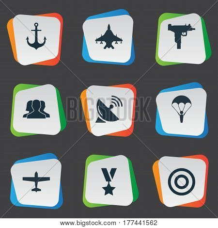 Vector Illustration Set Of Simple Army Icons. Elements Paratrooper, Sky Force, Firearm And Other Synonyms Paratrooper, Target And Order.
