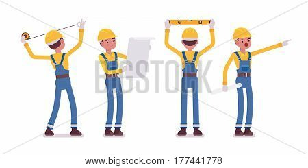 Set of male professional worker, wearing yellow protective hardhat, blue overall, doing measurement, planning with spirit level and tapeline, full length, front, rear view, isolated, white background