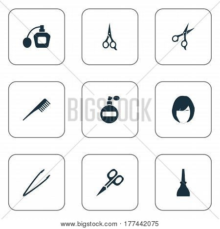Vector Illustration Set Of Simple Spa Icons. Elements Pincers, Hairstyle, Crest And Other Synonyms Comb, Aroma And Hairdresser.