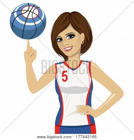 young woman spinning basketball ball with her finger on white background