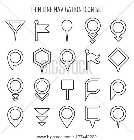 Linear map pin mini icons. Flags and pins, signs and arrows thin line symbols. Set of pin navigation for mapping illustration