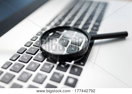 Concept For Searching On Internet Magnifier On Computer Keyboard