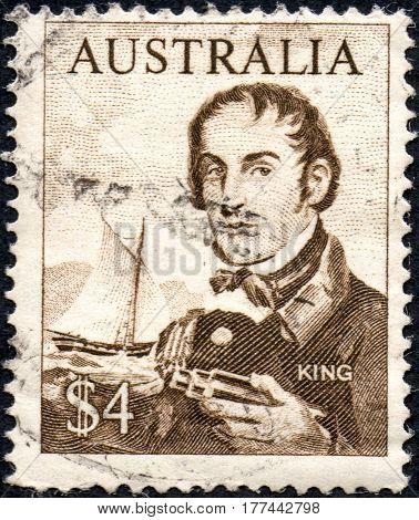 UKRAINE - CIRCA 2017: A stamp printed Australia shows the explorer Phillip Parker King circa 1966