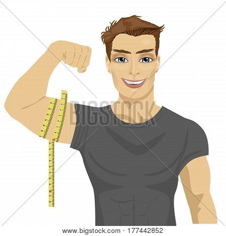 muscular man measuring biceps with tape measure on white background