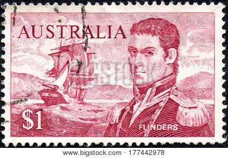 UKRAINE - CIRCA 2017: A stamp printed Australia shows the portrait of Captain Matthew Flinders circa 1966