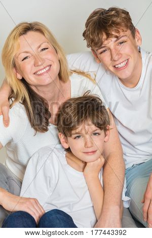 Happy Family Mother Mom and Two Male Boy Sons Children