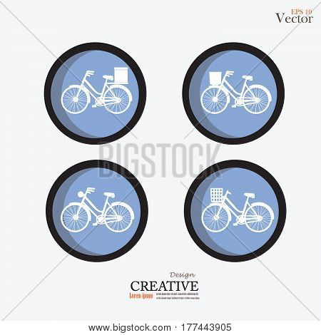 set of Bicycle icon on white background.vector illustration.