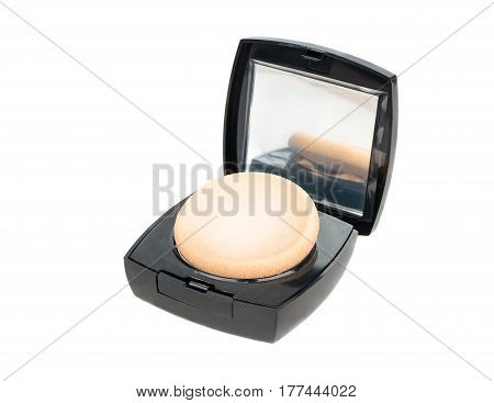 Open blush for the face on a white background
