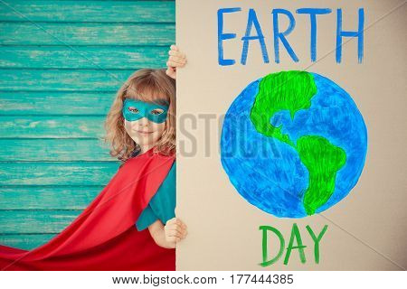 Superhero Child. Earth Day