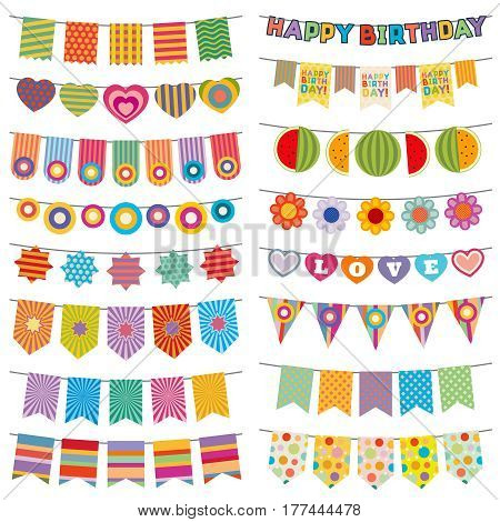Bunting flags kid party vector decoration. Color pennant flag for event birthday illustration