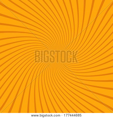 Abstract sunbeams spiral background. Bright sunbeams on orange background. Vector illustration. Abstract bright background