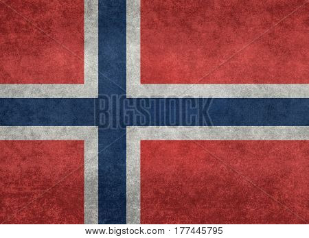 Norwegian national flag with grungy distressed textures
