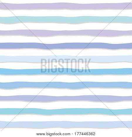 Cute seamless pattern with hand drawn strippes in pastel blue. For print and web. Vector.