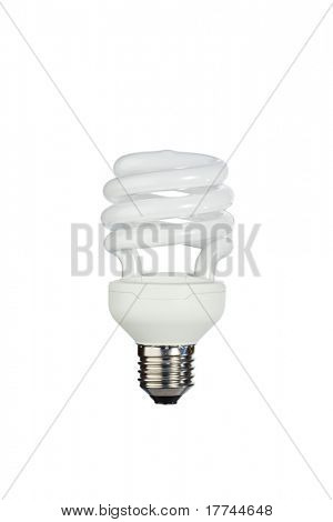 Fluorescent light bulb on a white background
