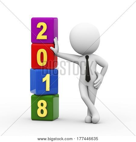 3d rendering of man standing with happy new year 2018 cubes. 3d illustration of human people character