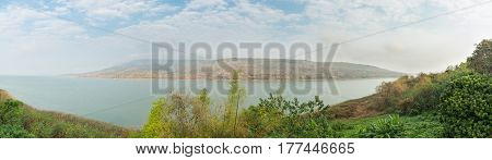 Panorama of Mountains reservoir lake at Lamtakhong Dam Nakhon Ratchasima Province Thailand Natural of mountain and dam and blue sky