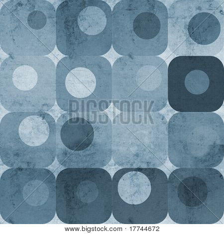 Abstract blue squares and circles