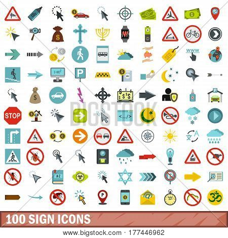 100 sign icons set in flat style for any design vector illustration