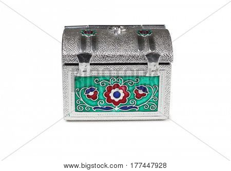 Metal antique chest on a white background