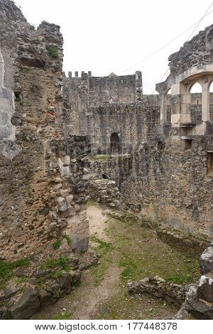 Remains of the walled castle of Leiria Beiras region Portugal