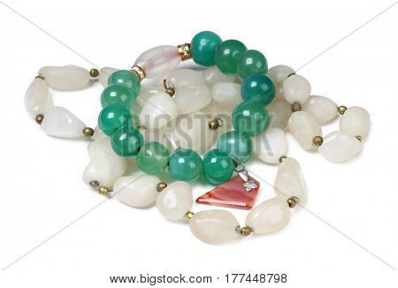 Jewelry made of precious stones on a white background