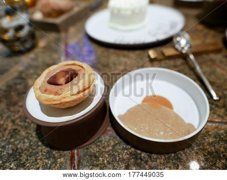 Chestnut tart and Turkish coffee ice cream