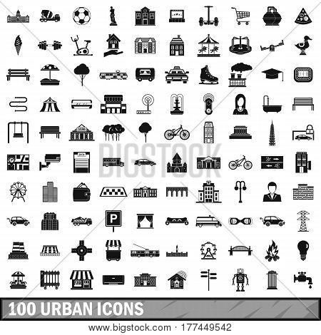 100 urban icons set in simple style for any design vector illustration
